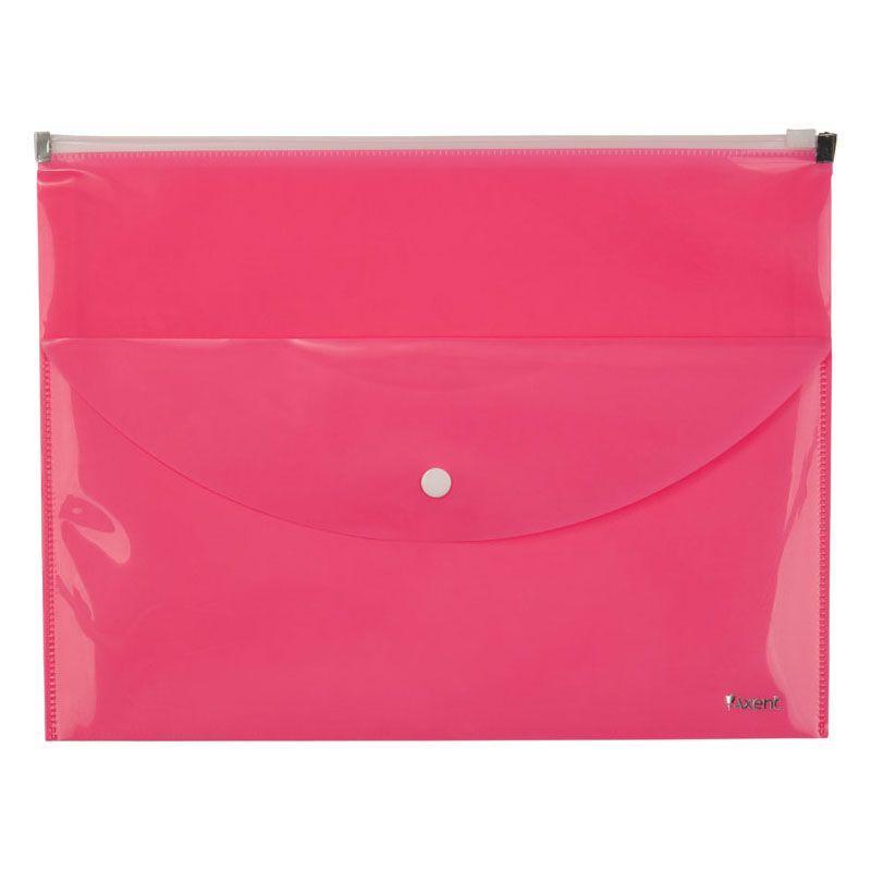 Папка-конверт Axent 1430-10-A zip-lock, 2 отделения, A4, розовая