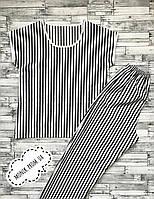 """Женская пижама (Футболка + Штаны) """"Черно-белые полоски"""", Хлопок 100%"""