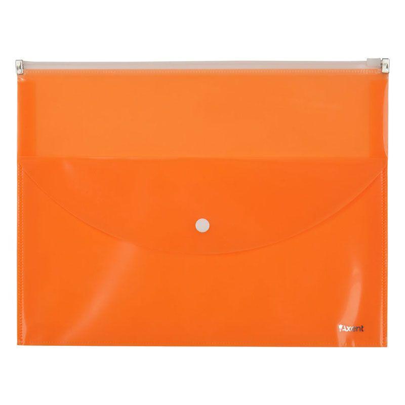Папка-конверт Axent 1430-12-A zip-lock, 2 отделения, A4, оранжевая