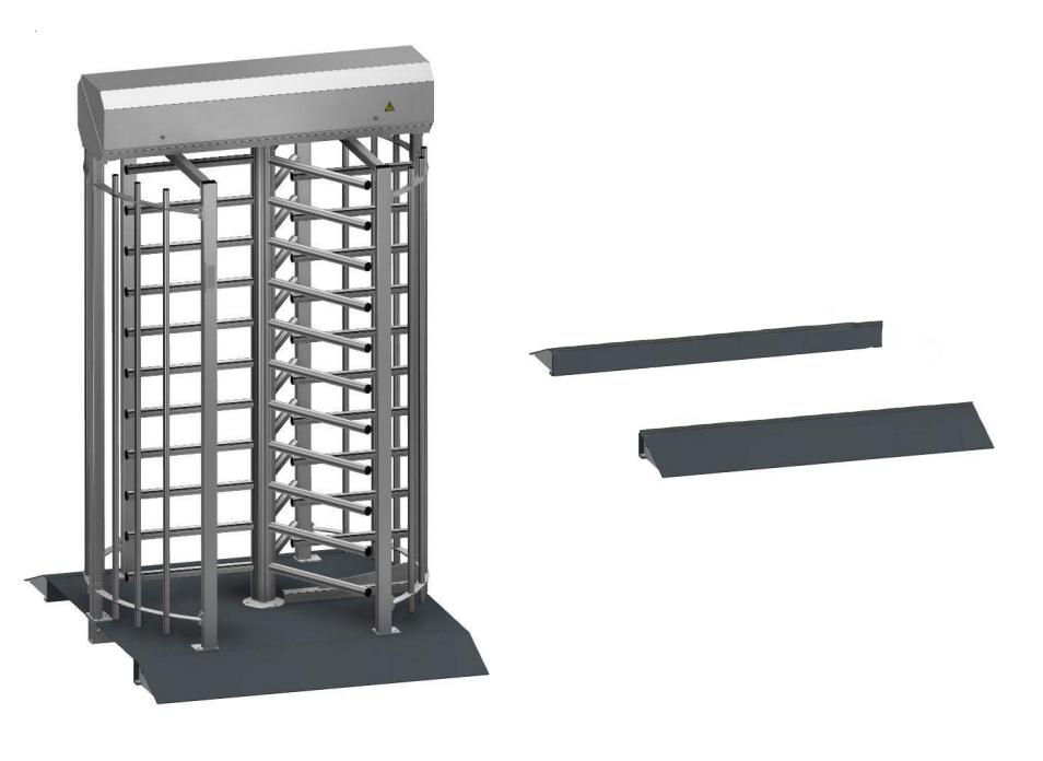 Рампы для платформы турникета (пара), сталь оцинкованная крашеная