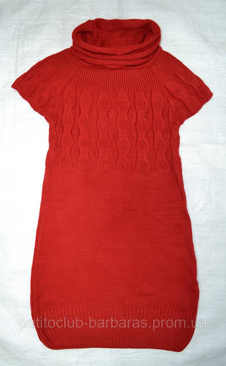Туника вязаная с коротким рукавом коралловая (Incity, Турция)