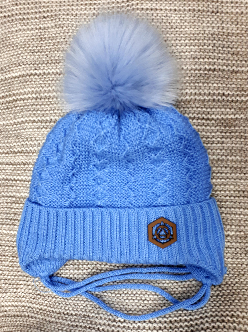 Шапка детская  на мальчика зима  голубого цвета Польша размер 46 48 50