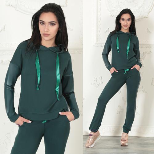 08c4dc2e484 Женский спортивный костюм трикотаж + эко-кожа (зеленый) 8747 - СТИЛЬНАЯ  ДЕВУШКА интернет