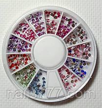 Стразы для дизайна ногтей в карусельке, цветные