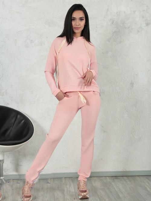 6450b0dc721 Купить Женский спортивный костюм трикотаж + эко-кожа (персиковый ...