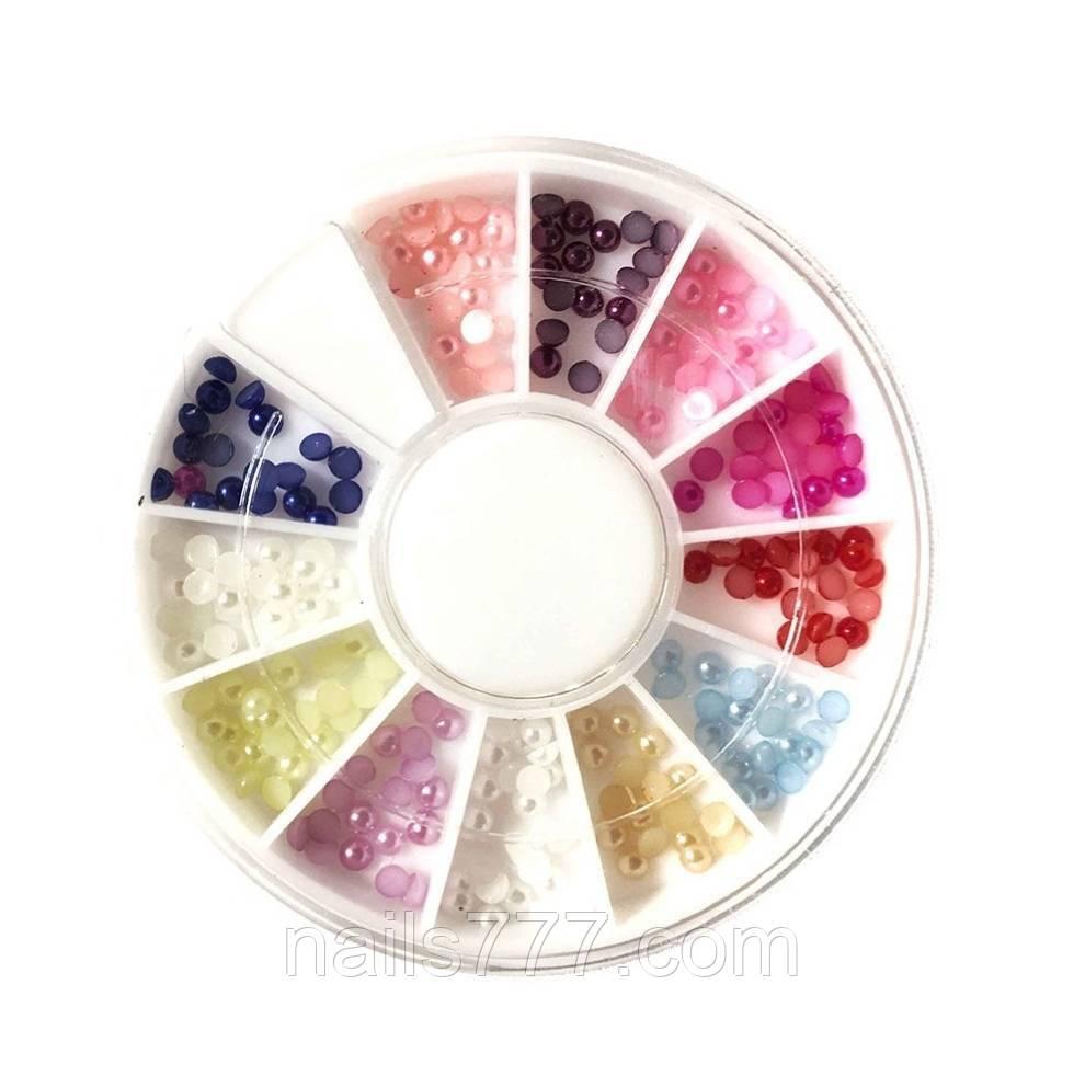 Перли для дизайну нігтів в карусельке, різні кольори