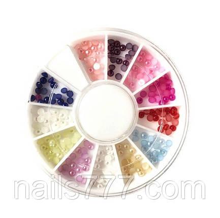 Жемчуг для дизайна ногтей в карусельке,  разные цвета, фото 2