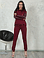 Женский спортивный костюм трикотаж + эко-кожа (серый-серебро) 8747, фото 4