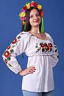 Легка жіноча плотняна біла блуза з яскравою квітковою вишивкою № 335