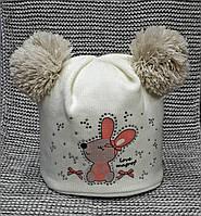 Шапка детская на девочку зима молочного цвета MAGROF (Польша) размер 46 48 889e7851fd9d1