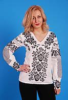 Біла жіноча вишиванка з чорною квітковою вишивкою № ВР-10-1