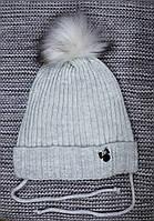 Шапка детская  на девочку зима серого цвета MAGROF (Польша) размер 42 44 46