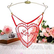 Прозрачные красные трусики Love с жемчужной нитью