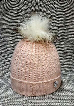 Шапка детская  на девочку зима пудра MAGROF (Польша) размер 40 42 , фото 2