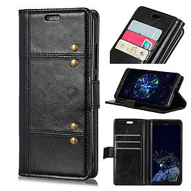 Чехол книжка для Samsung Galaxy S10 Lite боковой с отсеком для визиток, Гладкая ретро кожа, черный