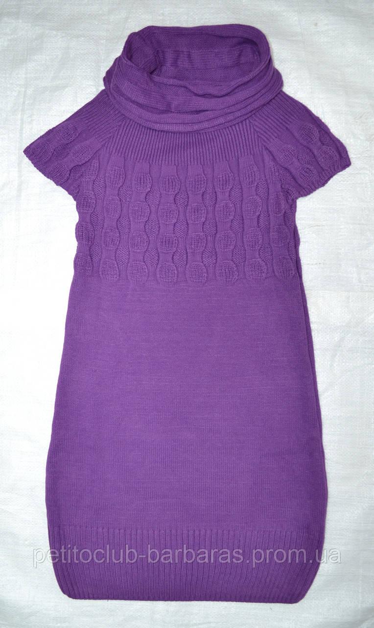 Туника вязаная с коротким рукавом фиолетовая (р. 128-164 см)(Incity, Турция)
