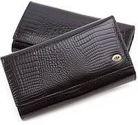 b745284fbaa2 Женский лаковый черный кошелёк с рисунком под крокодила в коже S1001A