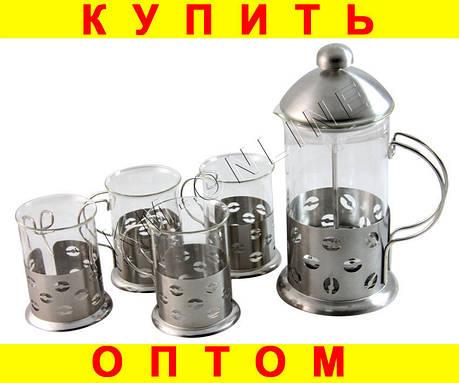 Заварник (Френч-пресс) + 4 чашки НАБОР чайник, фото 2