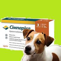 Таблетка жевательная от блох и клещей со вкусом печени для собак весом от 5 до 10 кг Симпарика