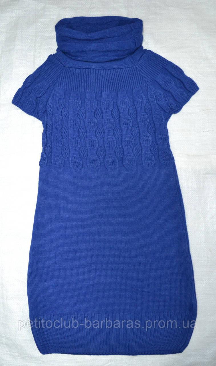 Туника вязаная с коротким рукавом синяя (Incity, Турция)