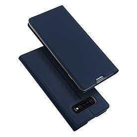 Чехол книжка для Samsung Galaxy S10 боковой с отсеком для визиток, DUX DUCIS, темно-синий