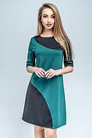 Двухцветное платье Темида зеленый (44-52)