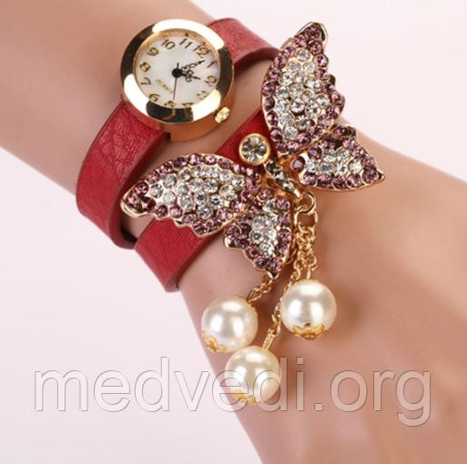 Жіночі годинники з метеликом, червоні зі стразами