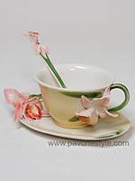 """Фарфоровая чайная пара """"Орхидея"""" (Pavone)"""