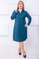 Стильное платье поло размер плюс Каролина малахит  (52-62)