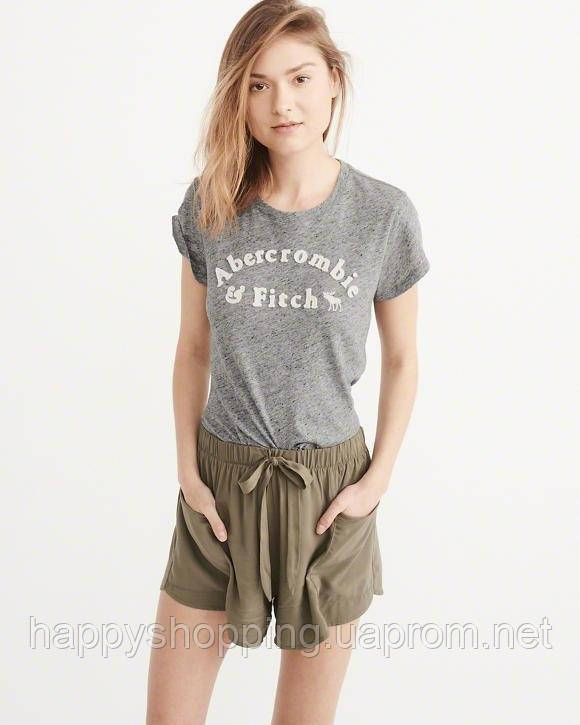 Женская серая футболка  Abercrombie & Fitch