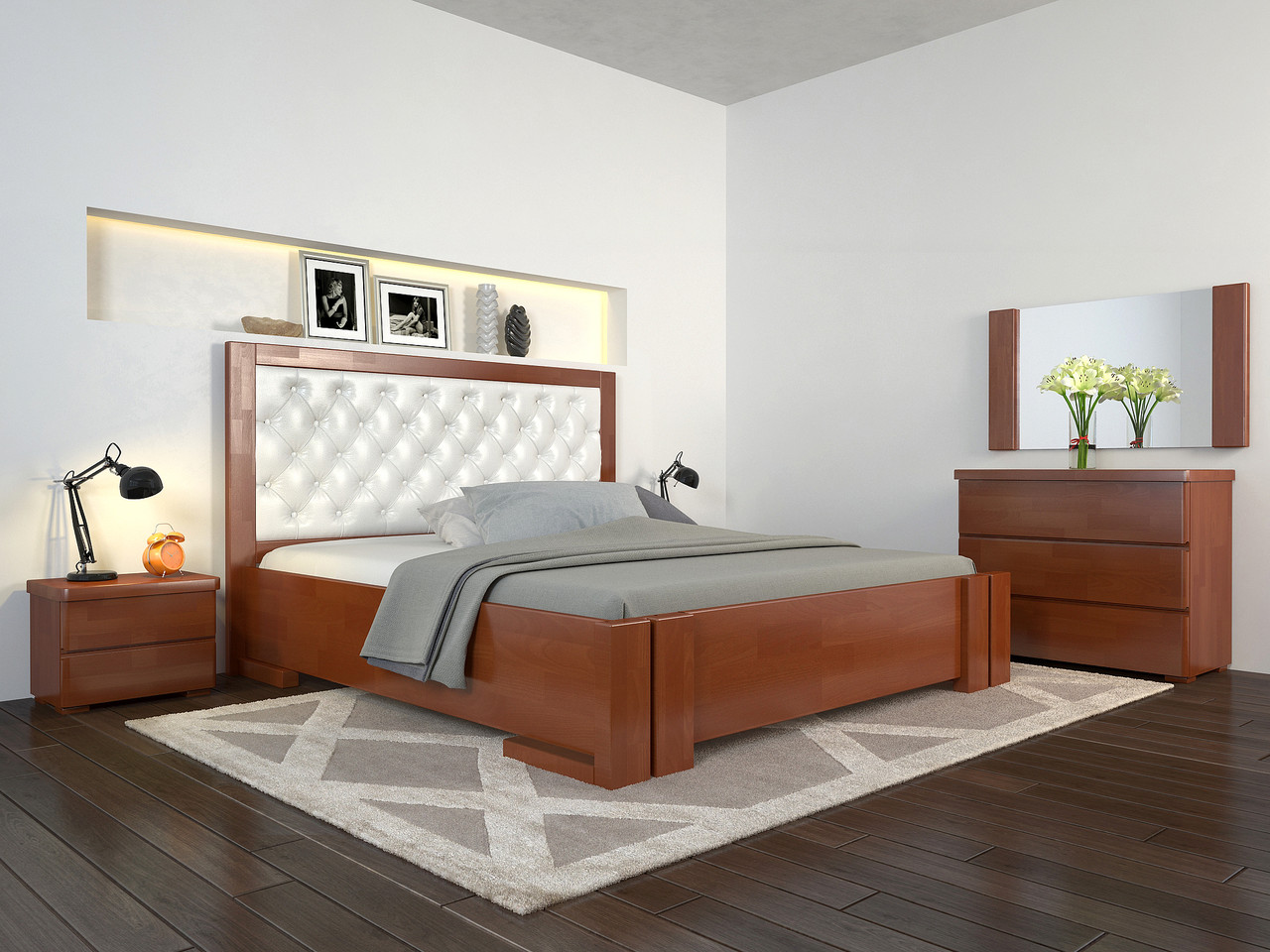 Кровать с механизмом Arbordrev Амбер ромбы (180*200) бук