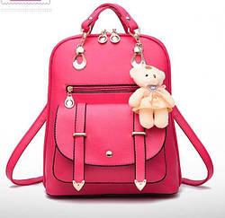 Рюкзак сумка Candy Beer с брелком мишка малиновый.