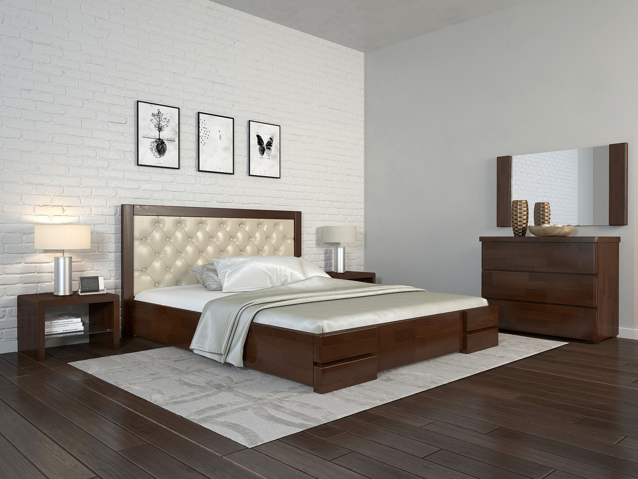 Ліжко з механізмом Arbordrev Регіна люкс ромби (180*200) бук