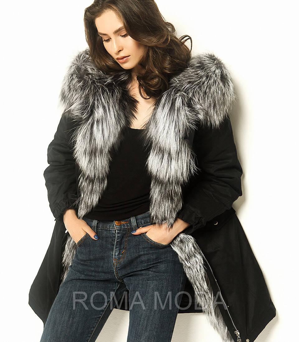 Черная парка женская зимняя с мехом П-IF-1/3