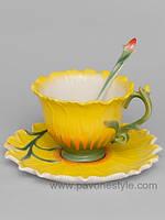Фарфоровая чайная пара Подсолнух (Pavone)