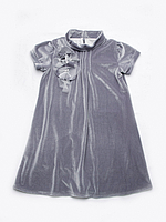 Платье нарядное бархат серое