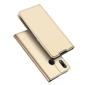 Чехол книжка для Huawei P Smart 2019 боковой с отсеком для визиток, DUX DUCIS, золотистый