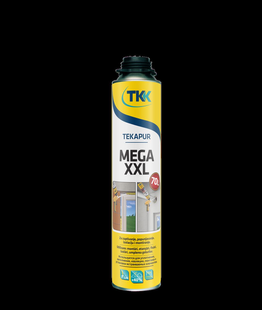 Пена монтажная под пистолет Tekapur MEGA XXL 65L 850 ml