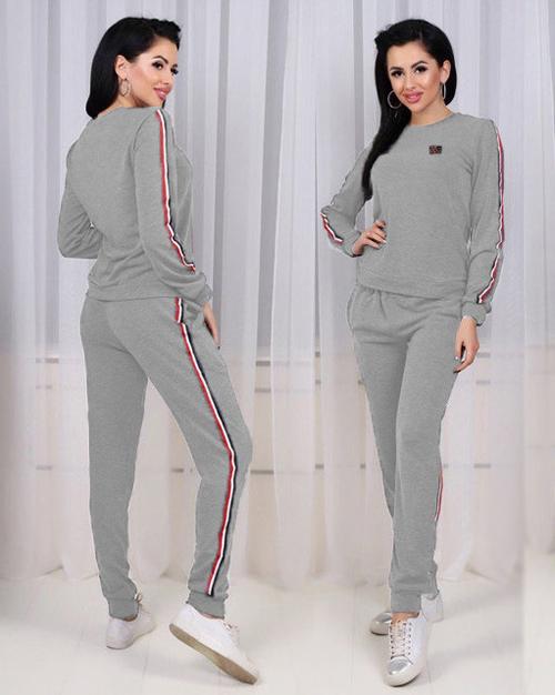 daadb4ae873 Женский спортивный костюм трикотажный (серый) 8745 - СТИЛЬНАЯ ДЕВУШКА интернет  магазин модной женской одежды