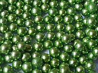 Кульки декоративні,зелений металік d 4 мм. 10г/уп, фото 1