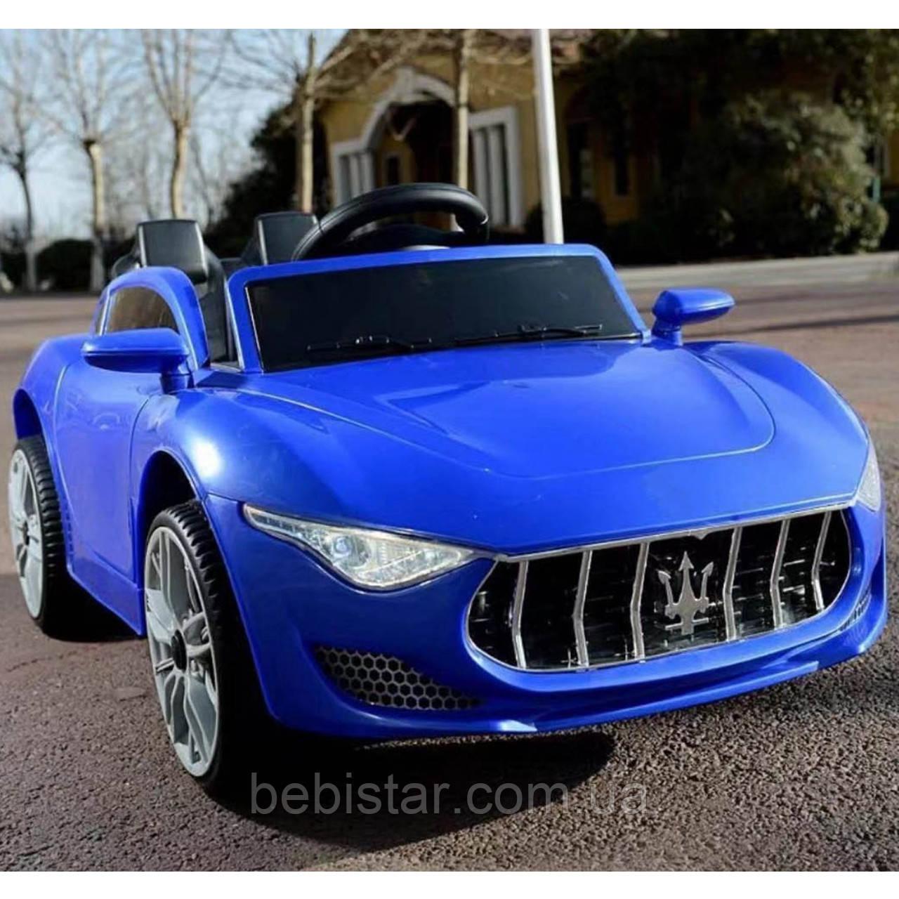 Электромобиль спорткар T-7637 BLUE для деток 3-8 лет с пультом мотор 2*25W с МР3