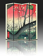 "Ширма ""Сливовый сад. А. Хиросигэ"", 160х180см, деревянная"