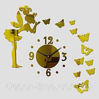 Оригинальные интерьерные бескаркасные настенные  часы на стену 0923254