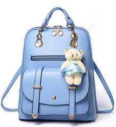 Рюкзак женский с мишкой брелком Candy Beer голубой.