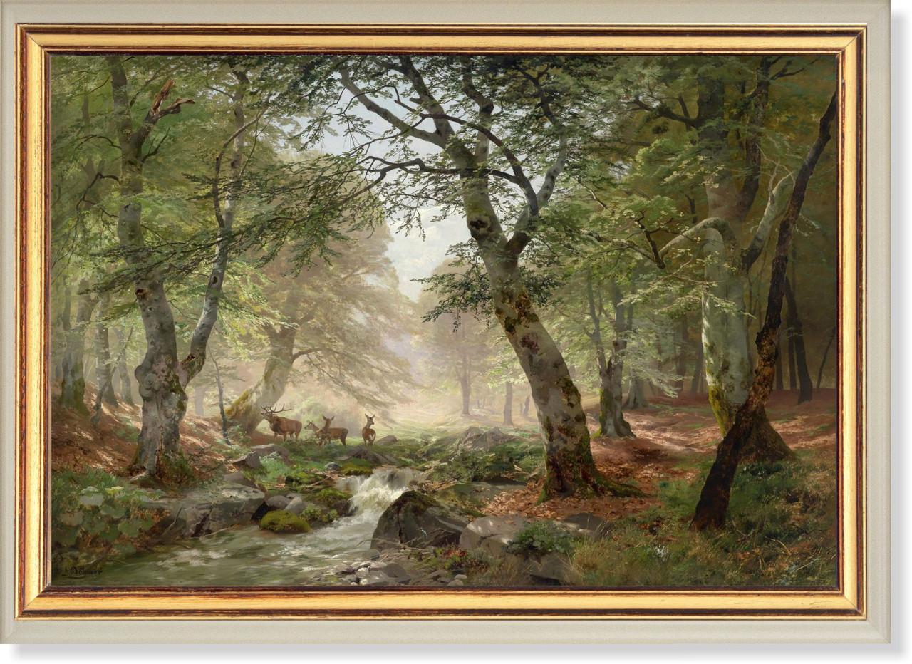 Репродукция картины Генриха Бохмера (Германия) «В лесу» 90 х 130 см 1924 г.