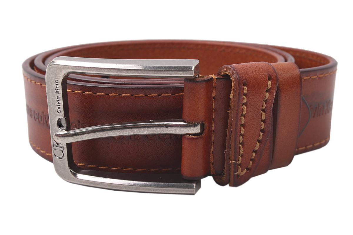 Ремень мужской CALVIN CLEIN джинсовый, цвет коричневый, натуральная кожа (длина 120 см, ширина 3,5 см)