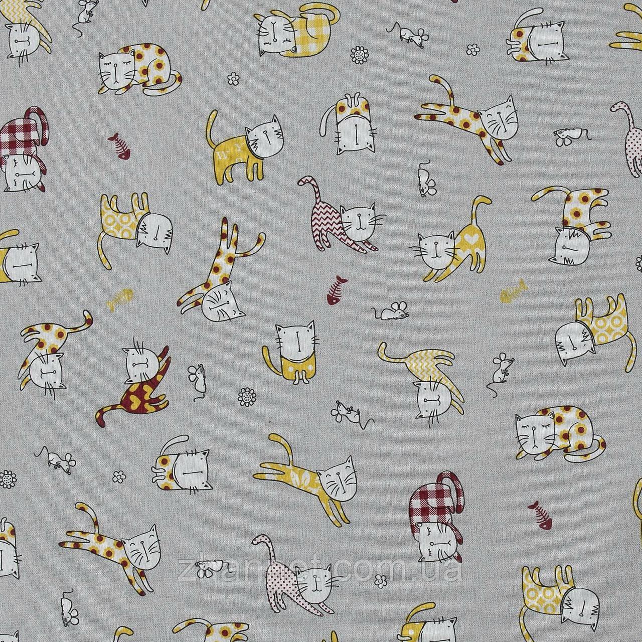Тканина для штор Кішки сірий (018931)