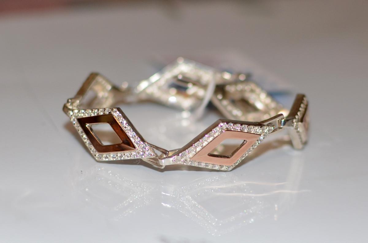 Серебряный браслет со вставками из золота
