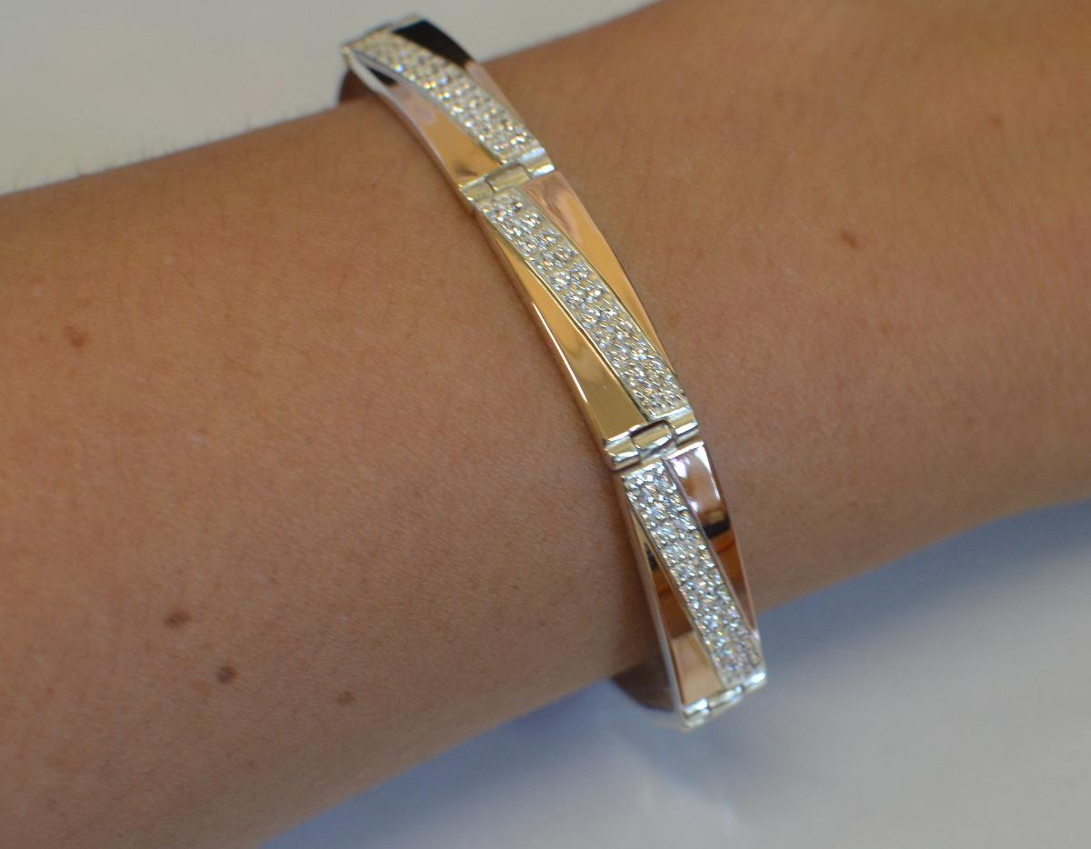 Серебряный браслет с вставками из золота