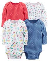 Боди с длиннымрукавом для новорожденных девочек12-18-24 мес.Набор4 шт.Original BodysuitsCarter's